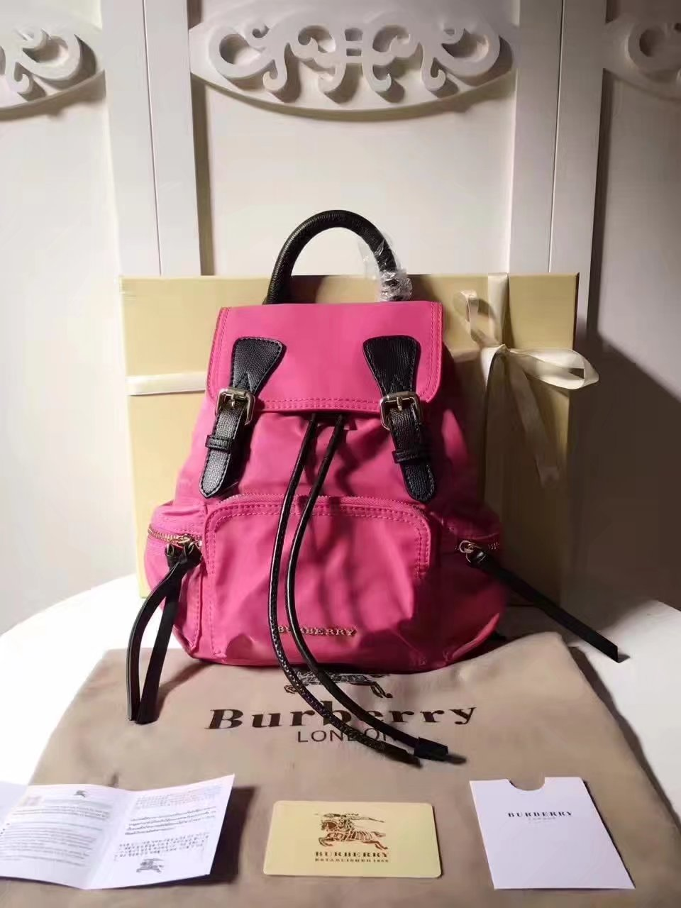 Burberry 66171 The Medium Pink Rucksack in Technical Nylon and Leather