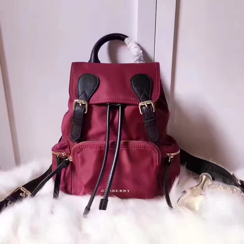 Burberry 66171 The Medium Red Rucksack in Technical Nylon and Leather