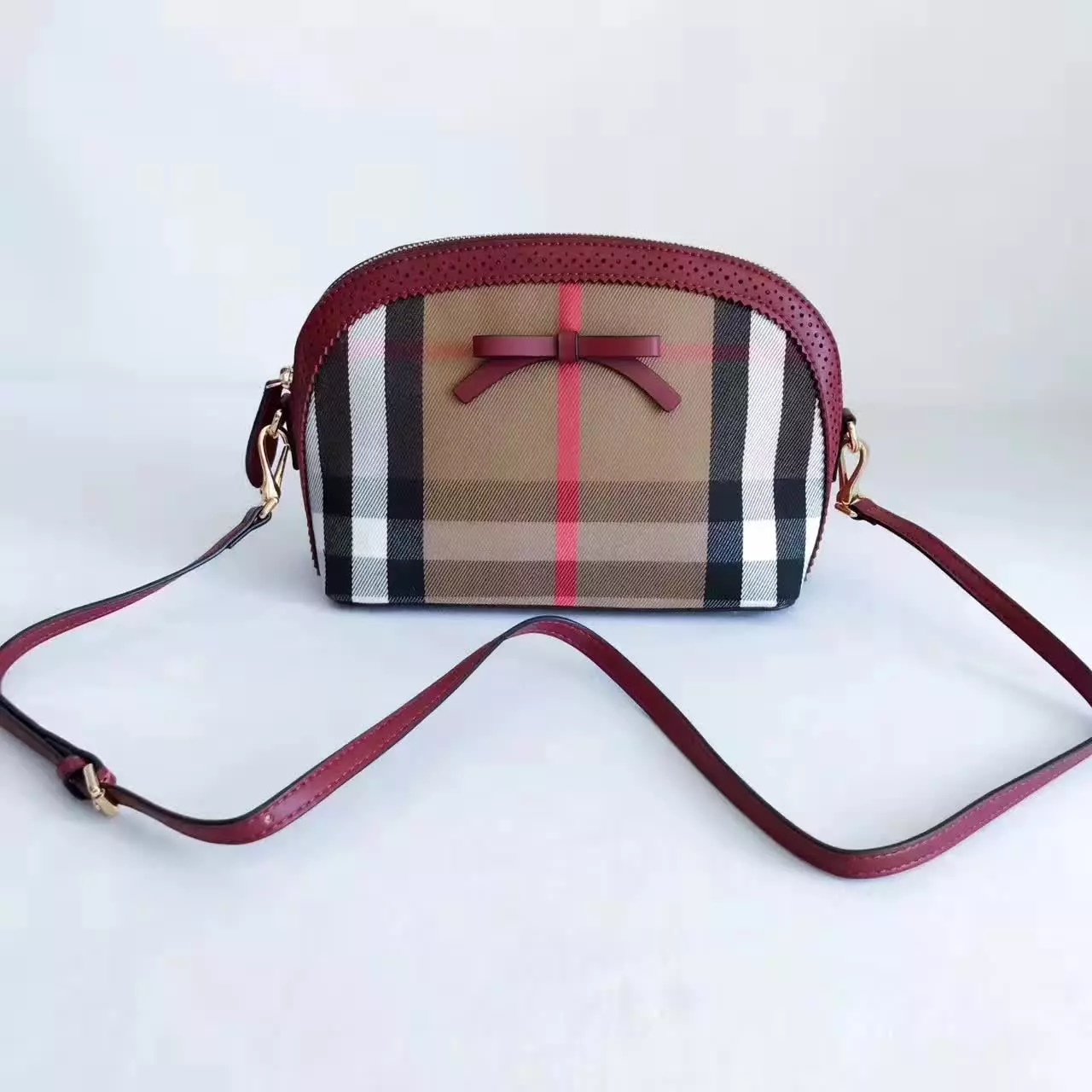Burberry Hourse Check Mini Orchard Crossbody Bag Red