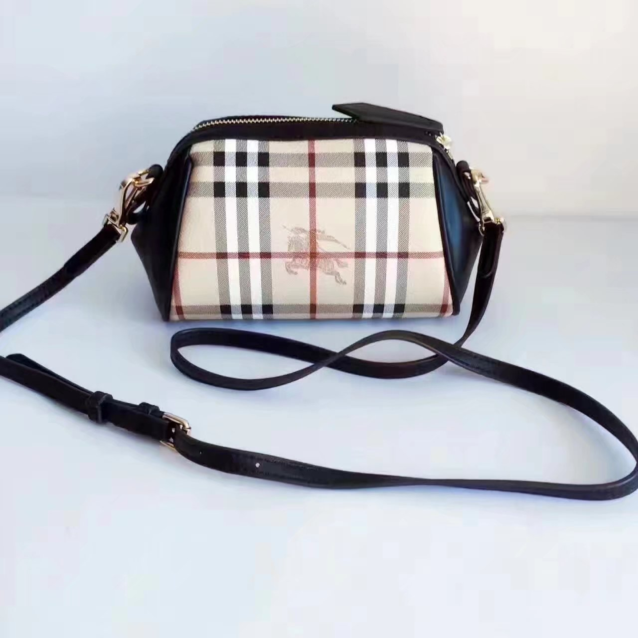 Burberry House Check and Leather Mini Women Shoulder Bag Black