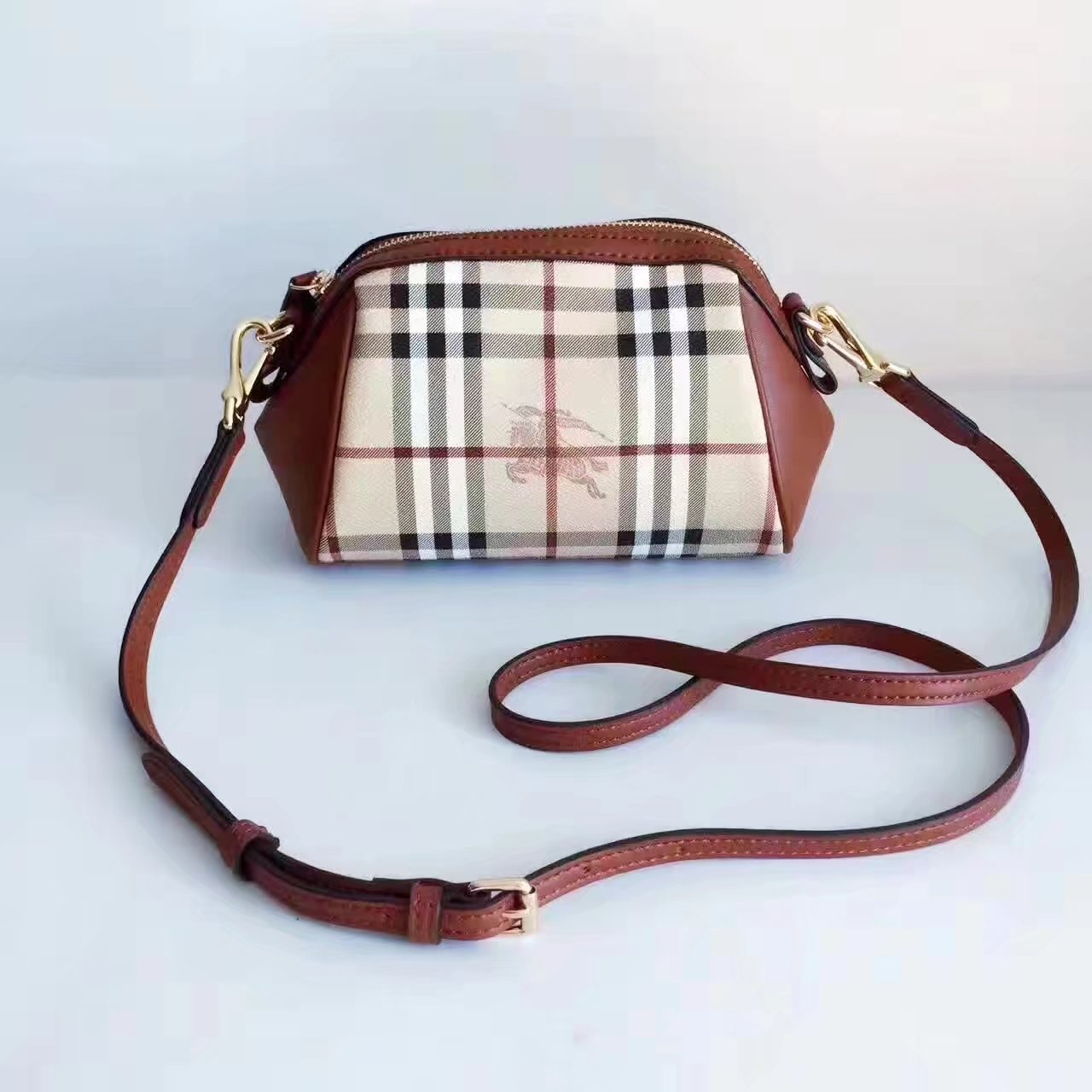 Burberry House Check and Leather Mini Women Shoulder Bag Brown