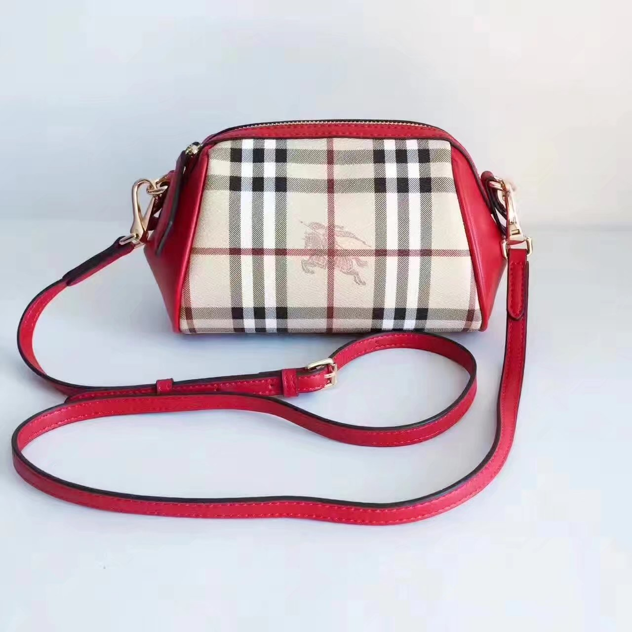 Burberry House Check and Leather Mini Women Shoulder Bag Red