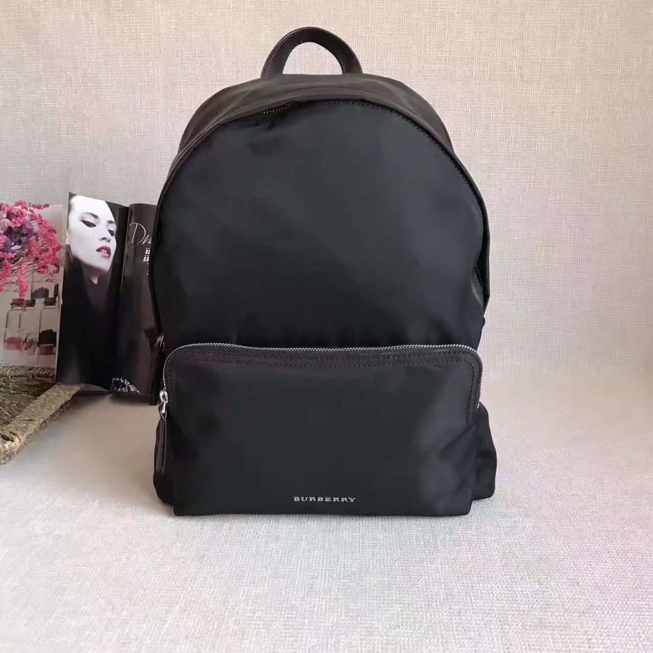 Burberry Leather Trim Nylon Men Backpack