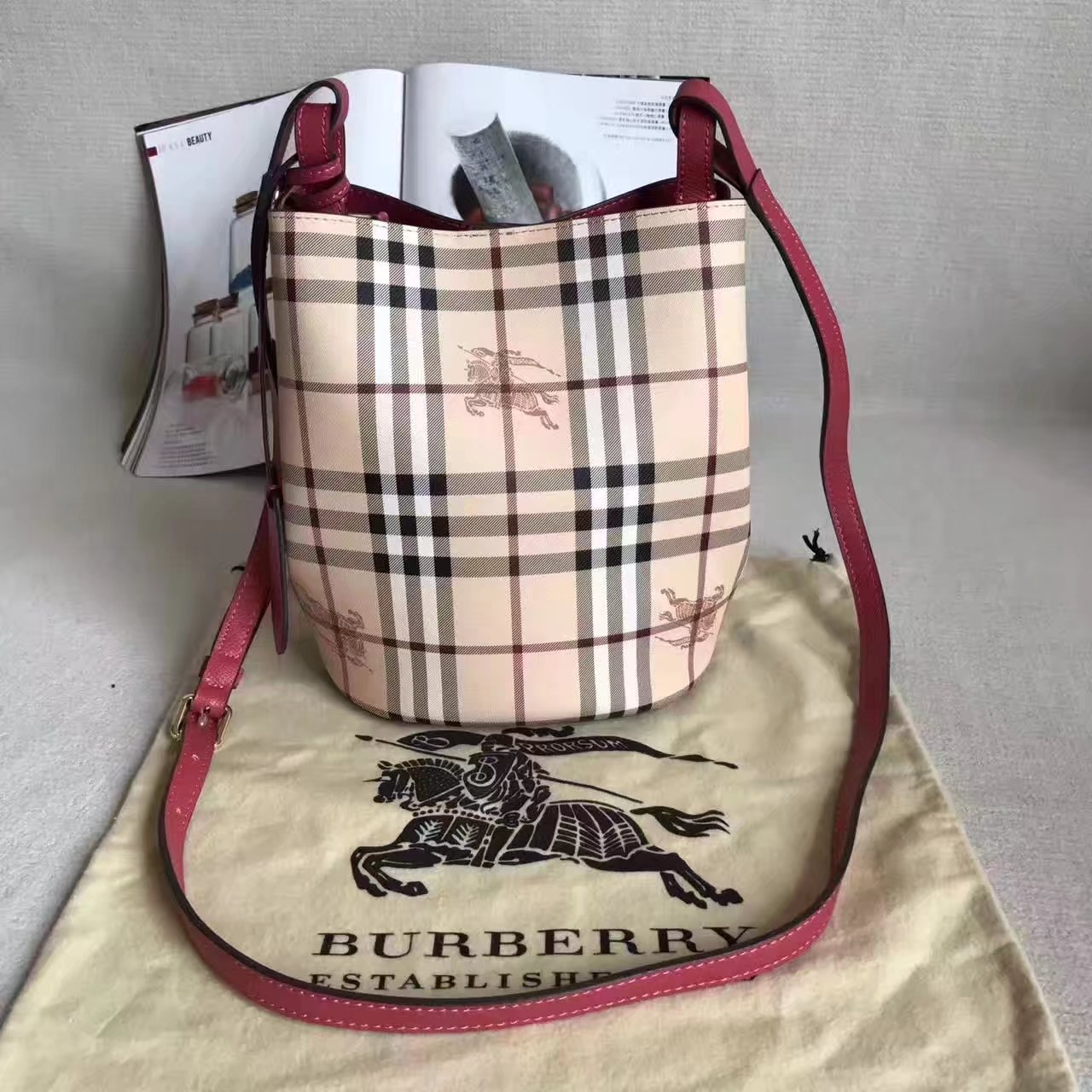 Burberry Leather and Haymarket Check Crossbody Bucket Bag Red