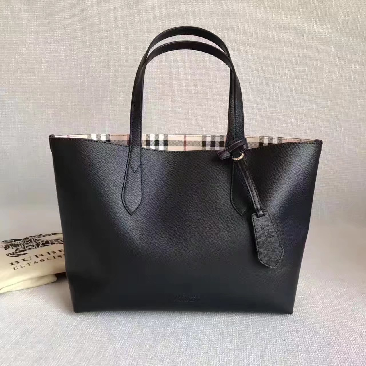 Burberry Medium Coated Leather Tote Bag Black