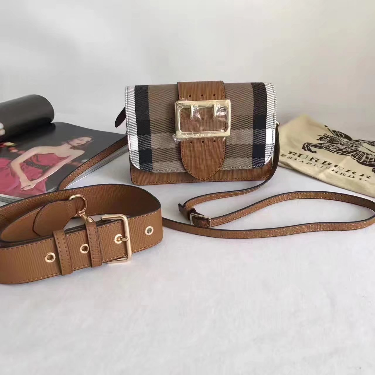 Burberry Small Buckle Shoulder Canvas Black Coffee