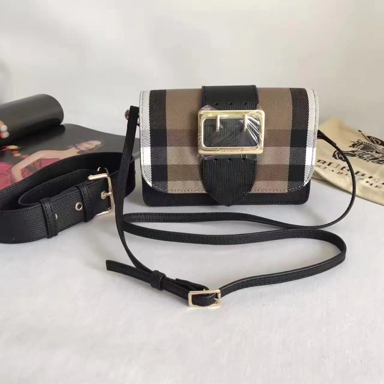 Burberry Small Buckle Shoulder Canvas Black Leather