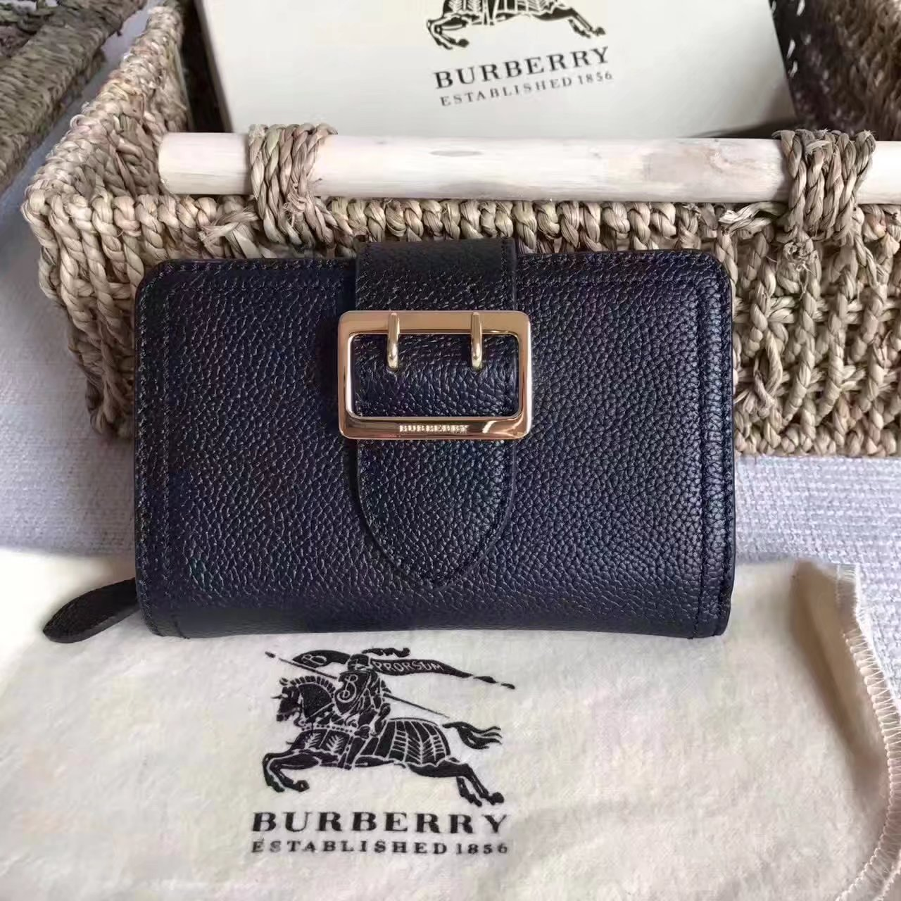 Burberry Textured Leather Continental Women Wallet Black