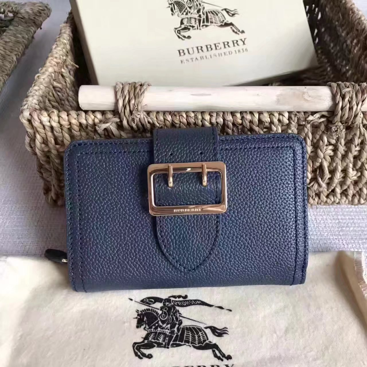 Burberry Textured Leather Continental Women Wallet Blue