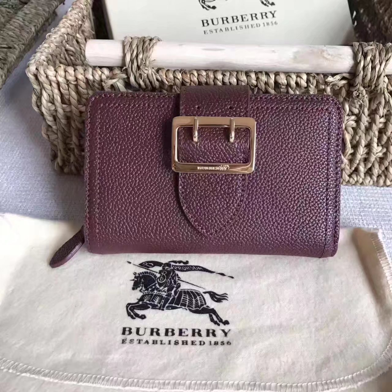 Burberry Textured Leather Continental Women Wallet Brown