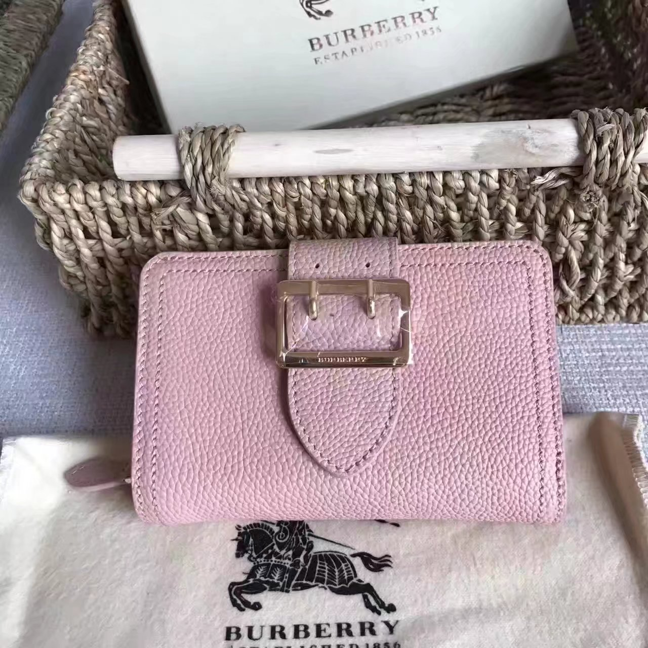 Burberry Textured Leather Continental Women Wallet Dusty Pink