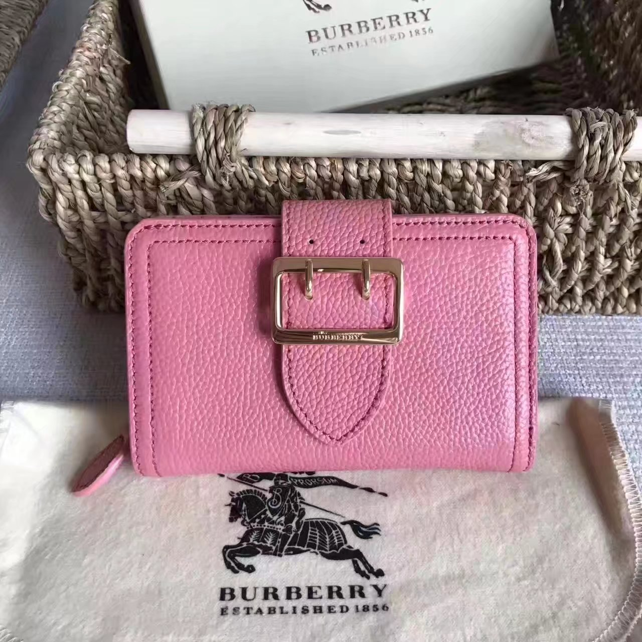 Burberry Textured Leather Continental Women Wallet Pink