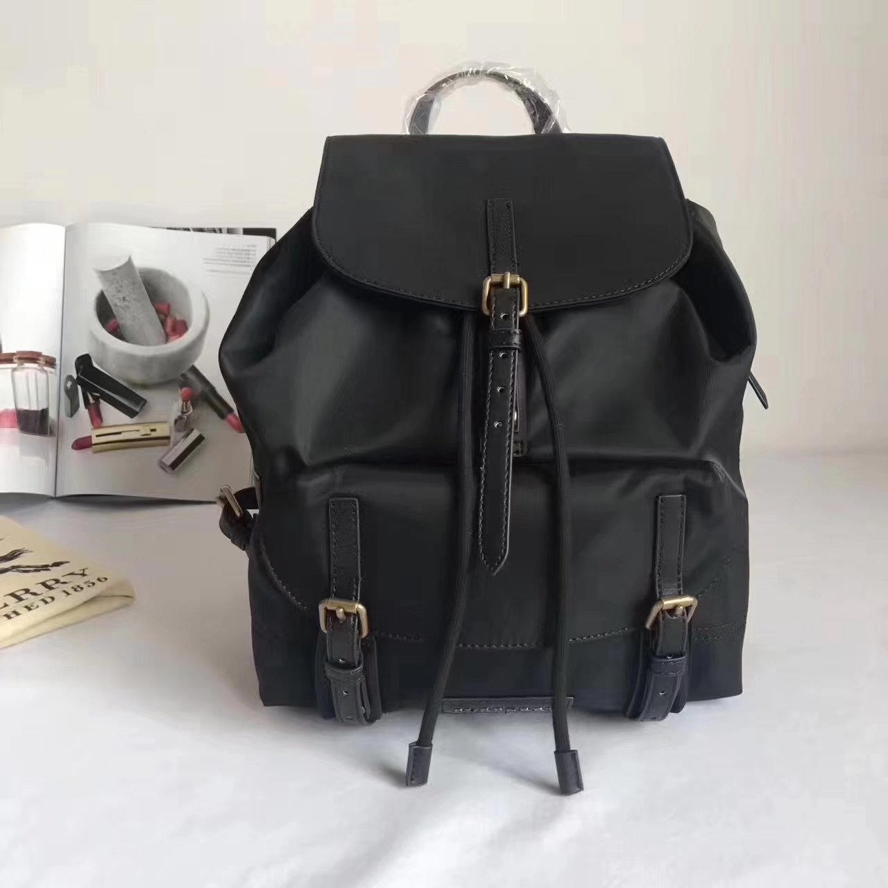 Burberry Women Backpack Nylon and Black Leather