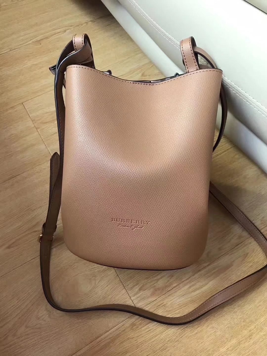 Burrberry Leather and Haymarket Check Crossbody Bucket Bag Mid Camel