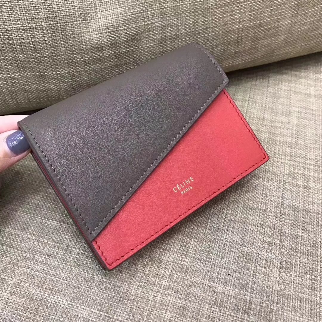 Celine Diagonal Card Holder In Burgundy And Light Burgundy Smooth Lambskin Grey