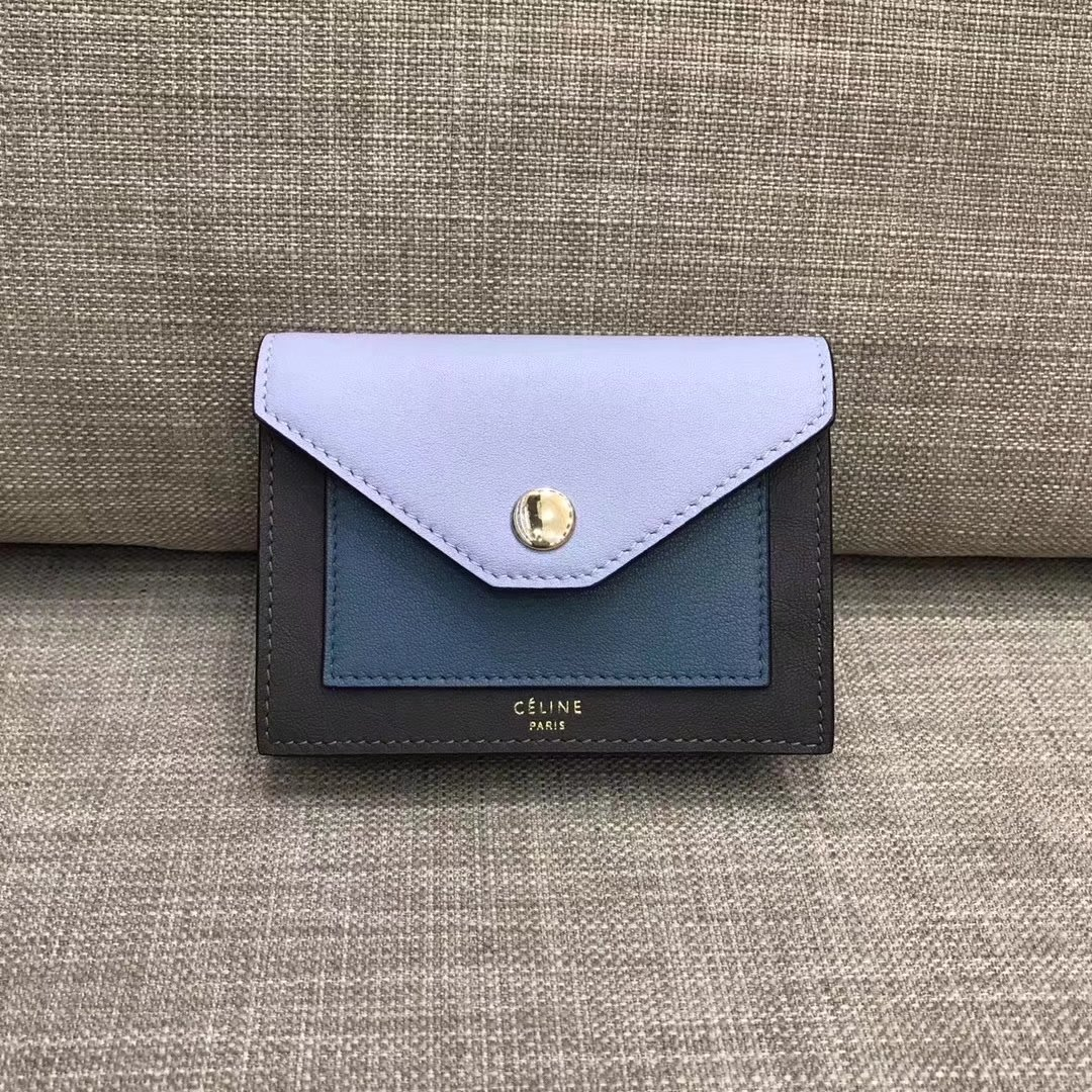 Celine Pocket Card Holder in Calfskin Liege and Shiny Smooth Calfskin Blue