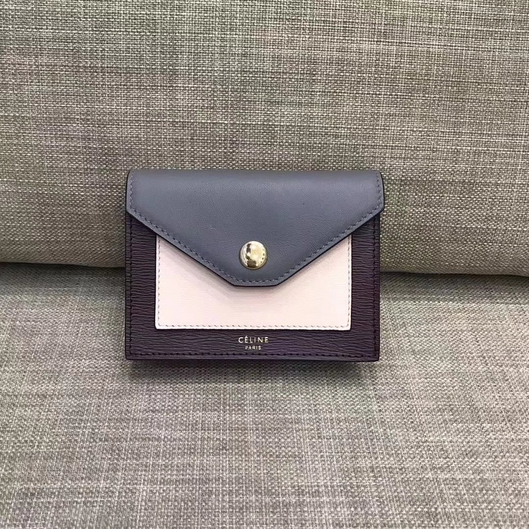 Celine Pocket Card Holder in Calfskin Liege and Shiny Smooth Calfskin Grey
