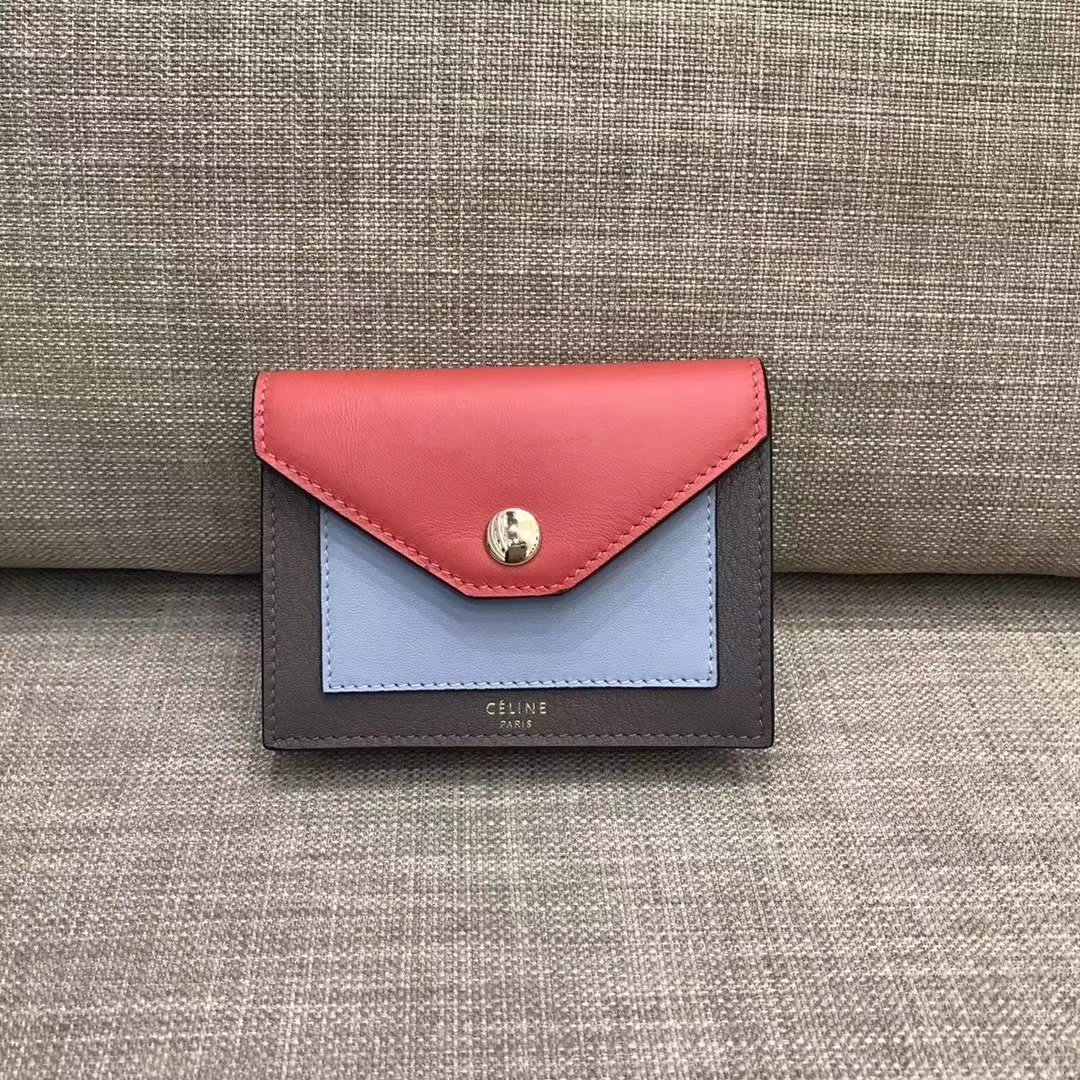 Celine Pocket Card Holder in Calfskin Liege and Shiny Smooth Calfskin Red