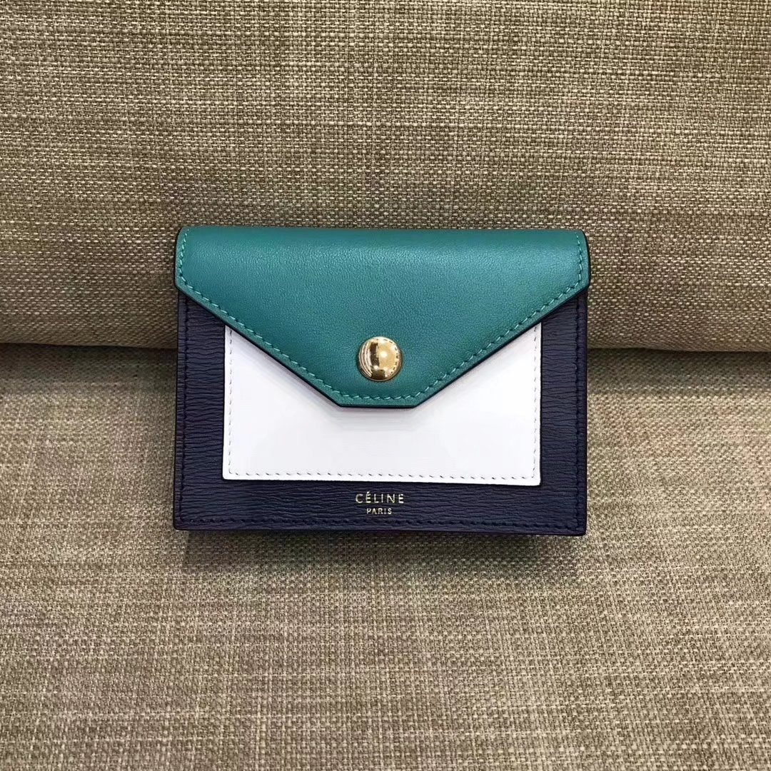 Celine Pocket Card Holder in Calfskin Liege and Shiny Smooth Calfskin Green