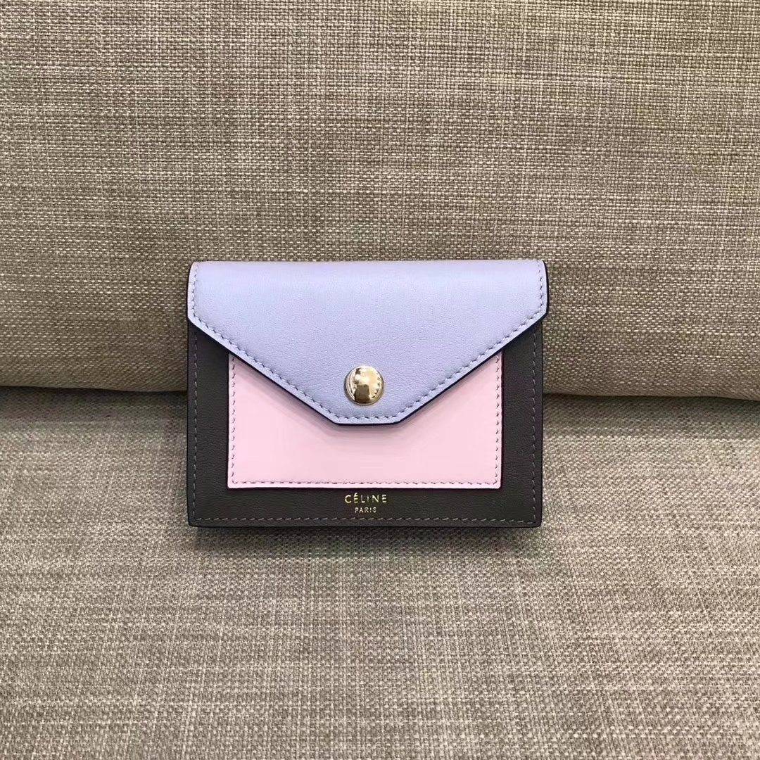 Celine Pocket Card Holder in Calfskin Liege and Shiny Smooth Calfskin Purple