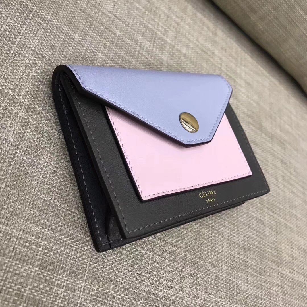 Celine Pocket Card Holder in Calfskin Liege and Shiny SmoothCalfskin Purple