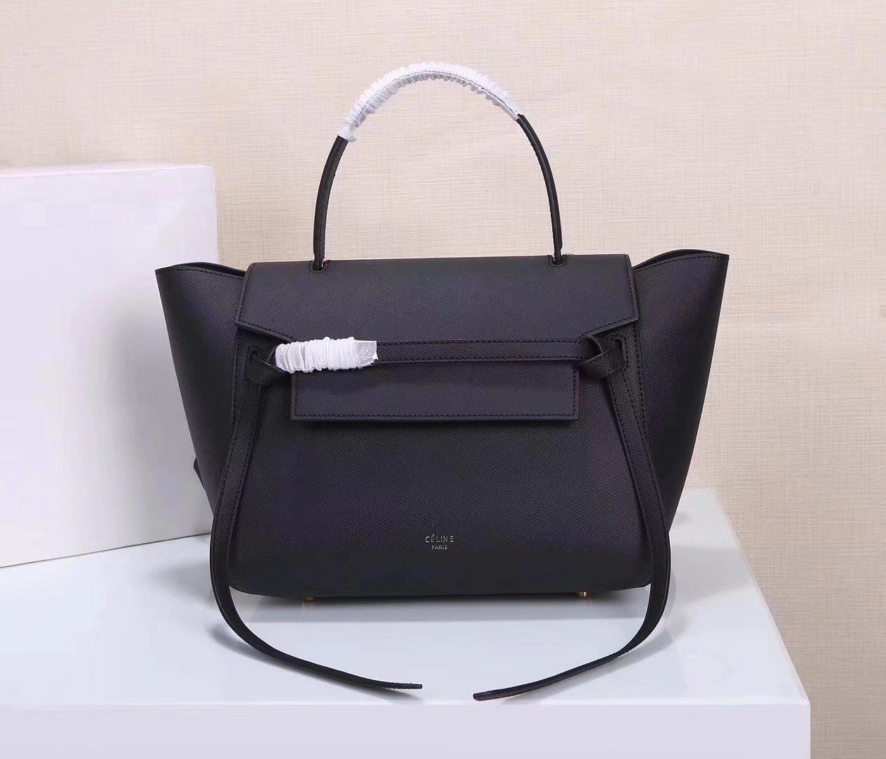Celine Women Mini Belt Bag in Grained Calfskin Leather Black