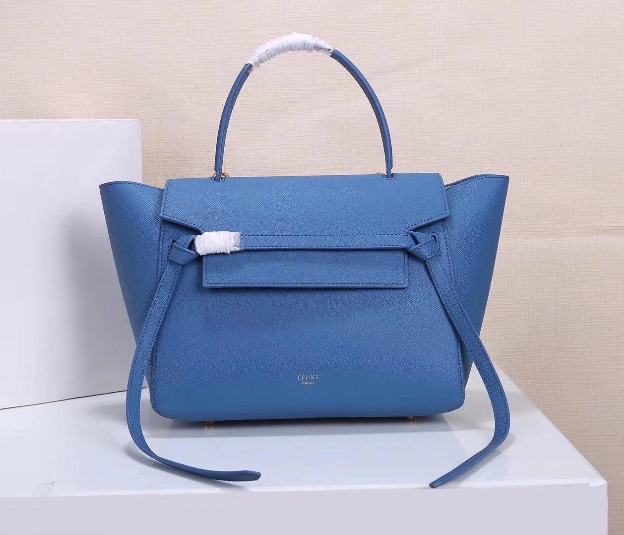 Celine Women Mini Belt Bag in Grained Calfskin Leather Blue