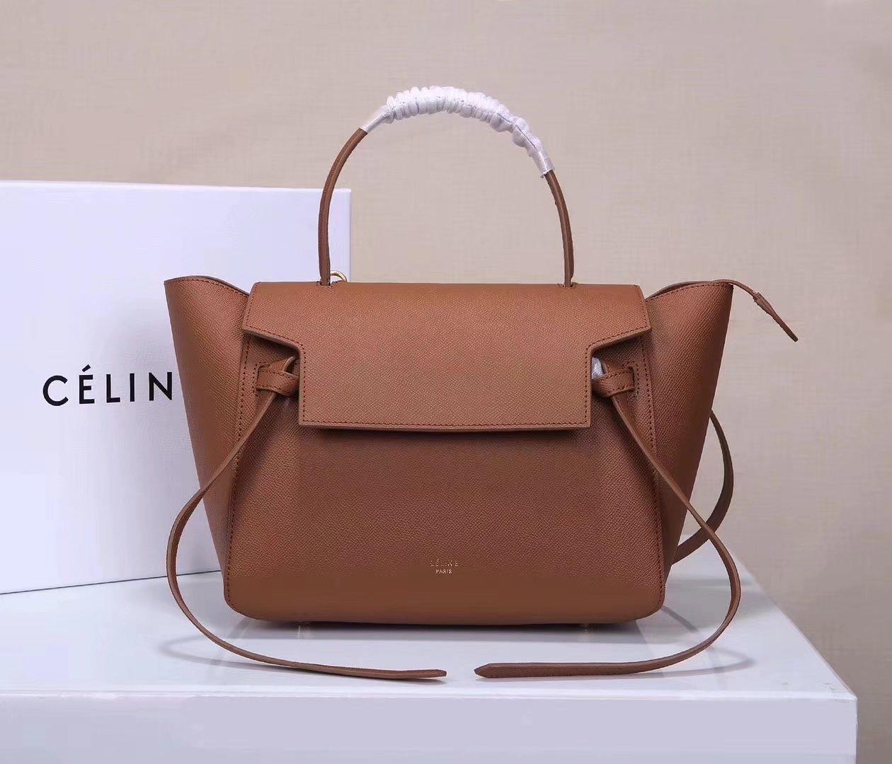 Celine Women Mini Belt Bag in Grained Calfskin Leather Coffee