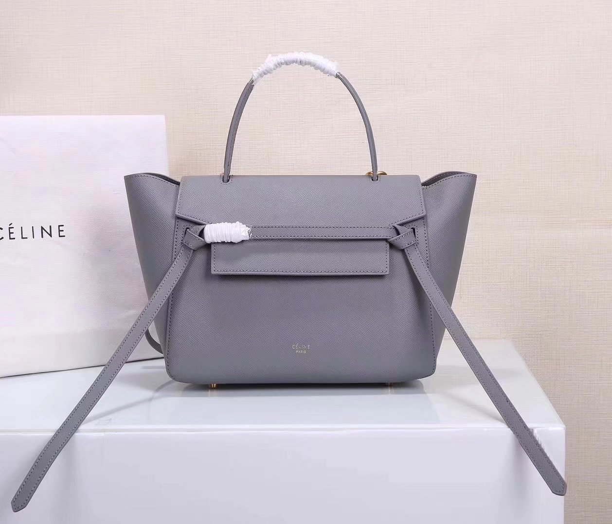 Celine Women Mini Belt Bag in Grained Calfskin Leather Dark Grey