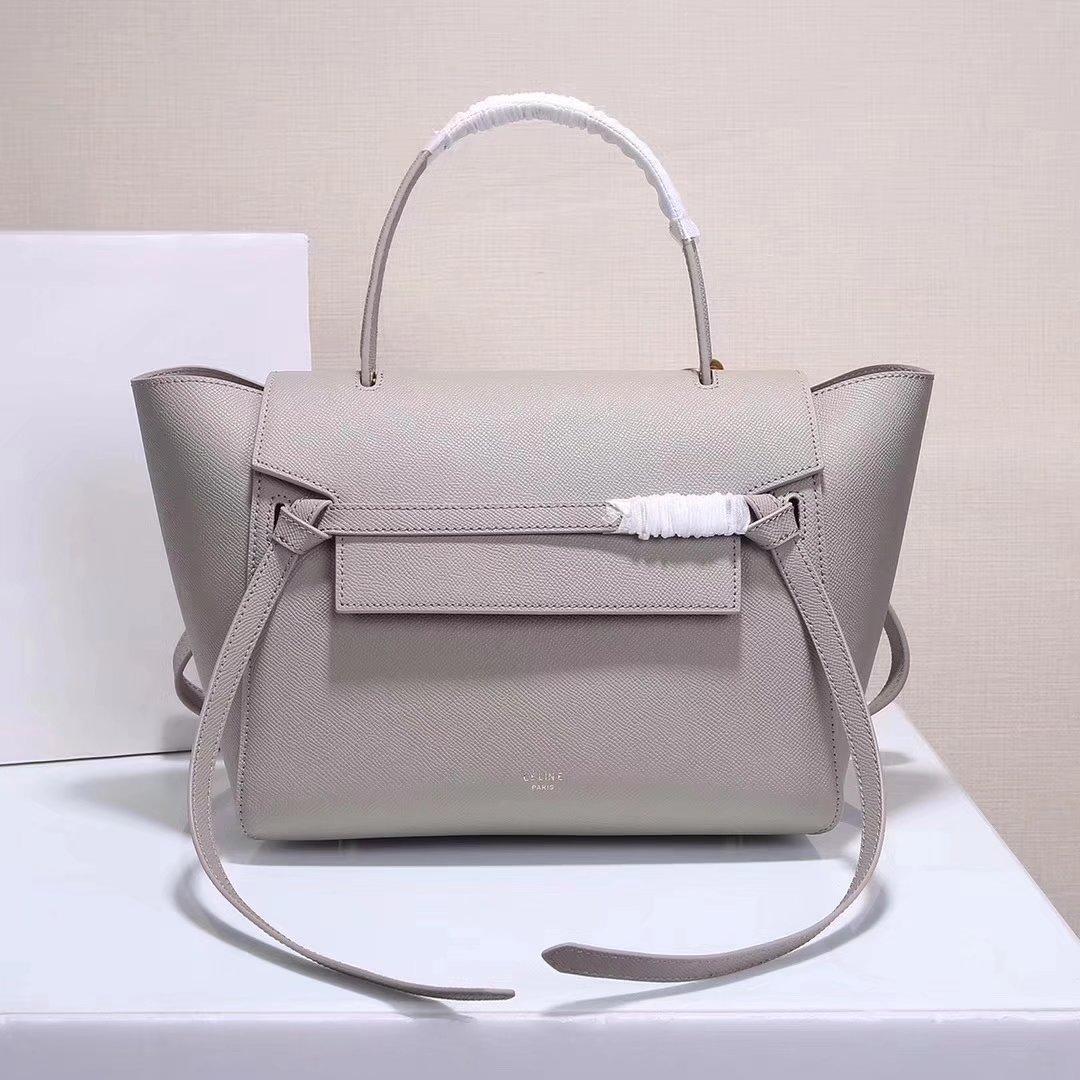 Celine Women Mini Belt Bag in Grained Calfskin Leather Grey