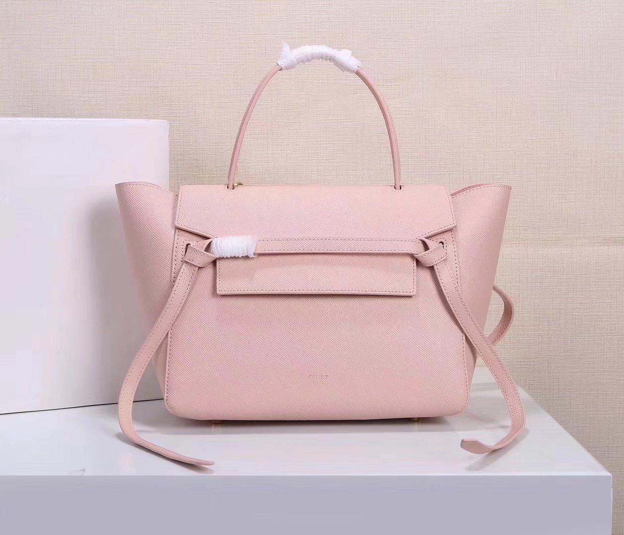 Celine Women Mini Belt Bag in Grained Calfskin Leather Pink