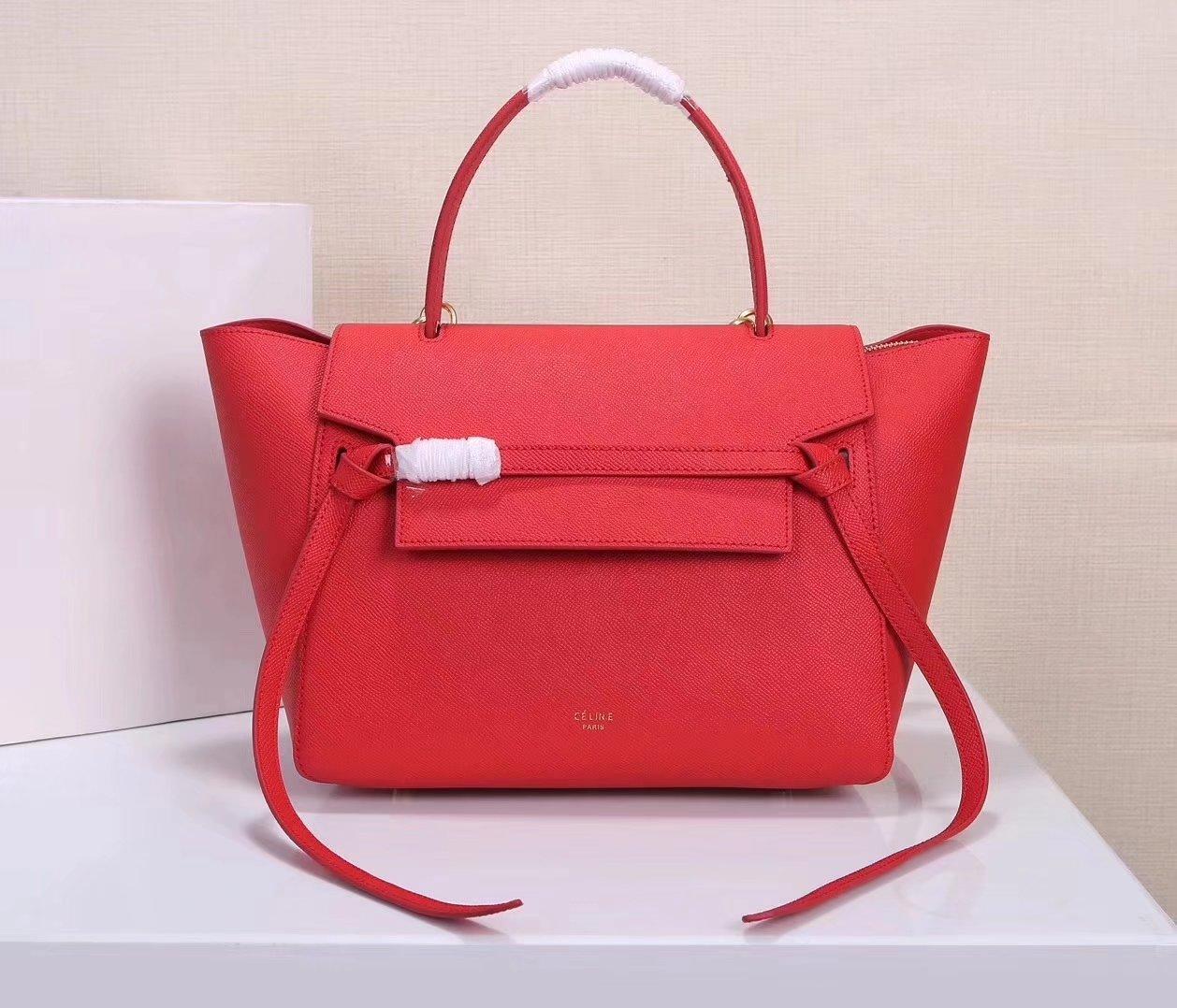 Celine Women Mini Belt Bag in Grained Calfskin Leather Red