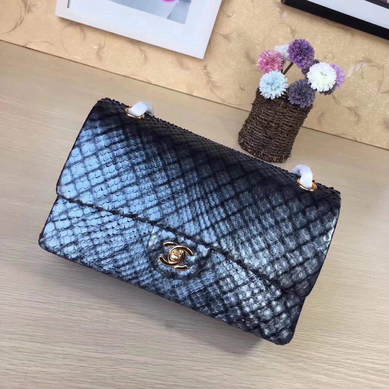 Chanel 1112 25cm Python Classic Double Flap Bag Dark Blue