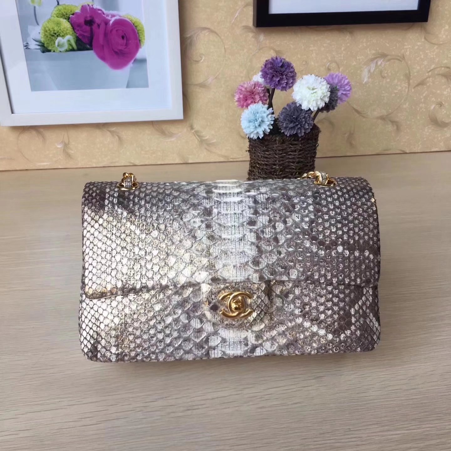 Chanel 1112 25cm Python Classic Double Flap Bag White