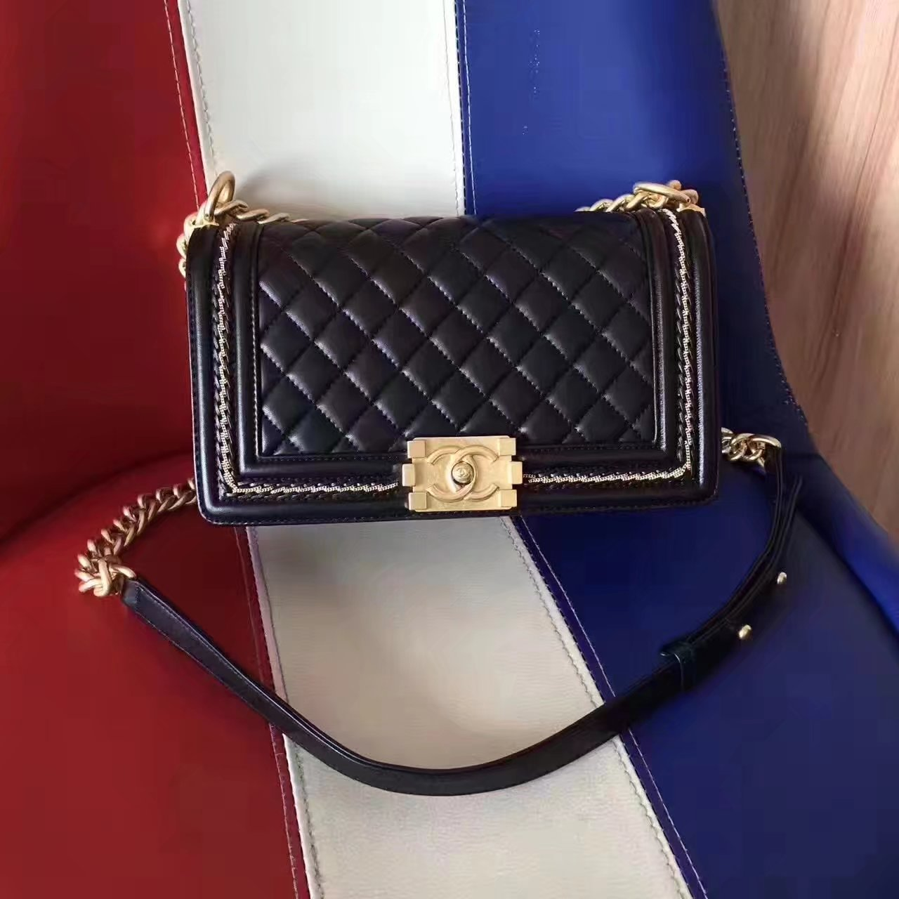 Chanel 2017 Boy Punched Chain Shoulder Bag Black With Gold