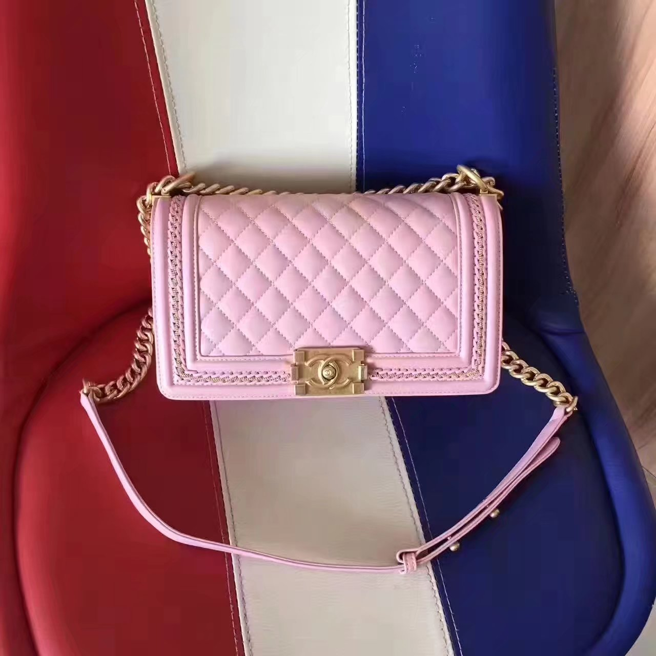Chanel 2017 Boy Punched Chain Shoulder Bag Pink With Gold