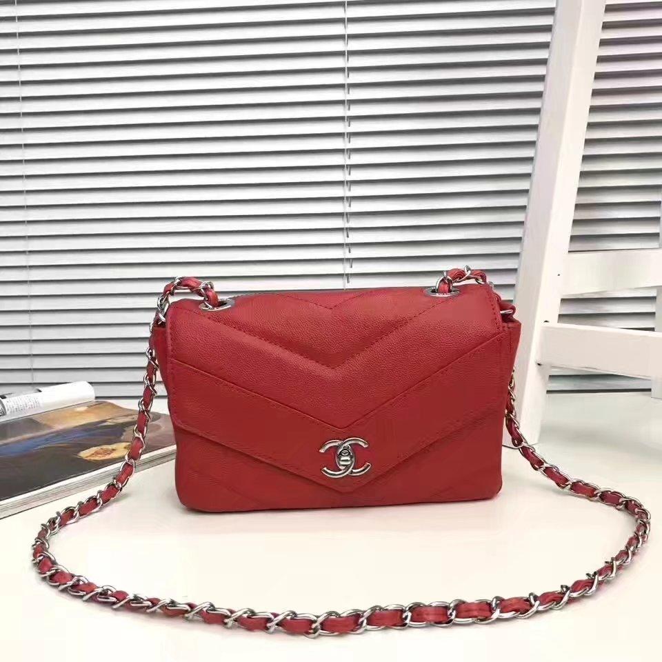 Chanel 2017 Lambskin Chian Flap Bag Red