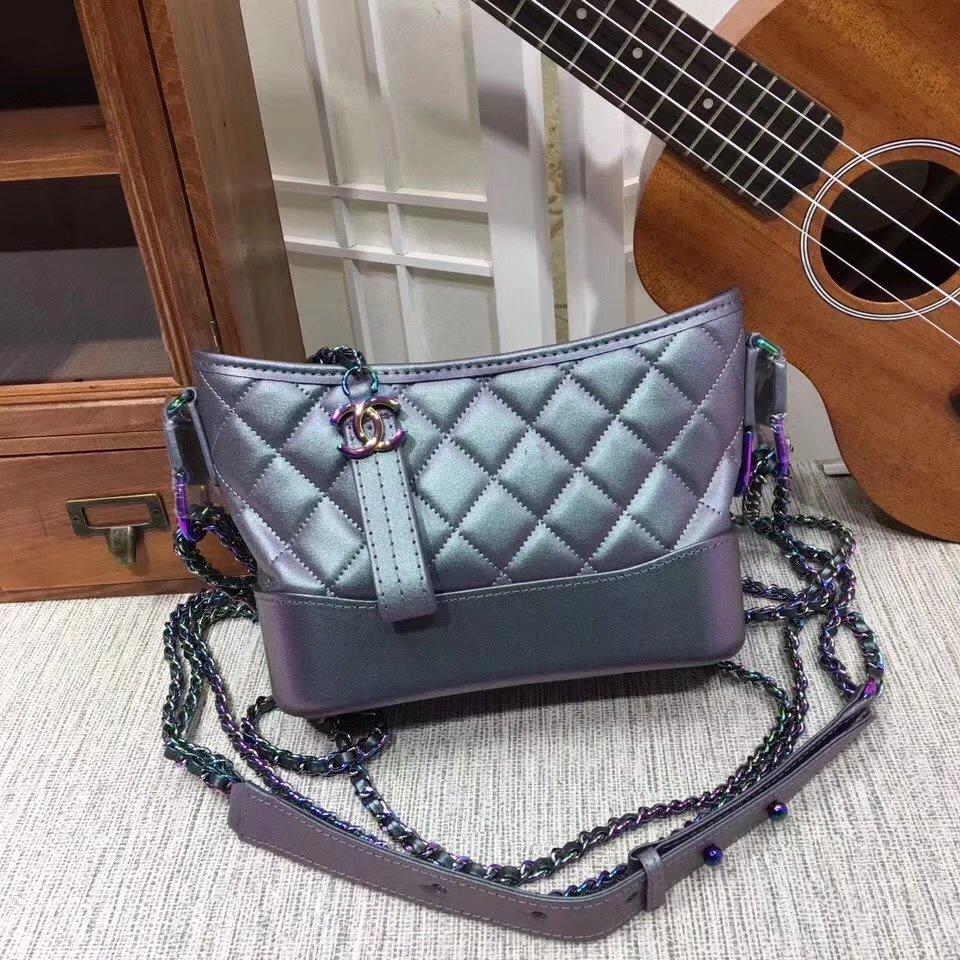 Chanel 20cm Gabrielle Hobo Bag Calfskin Iridescent Lambskin Iridescent Metal Purple