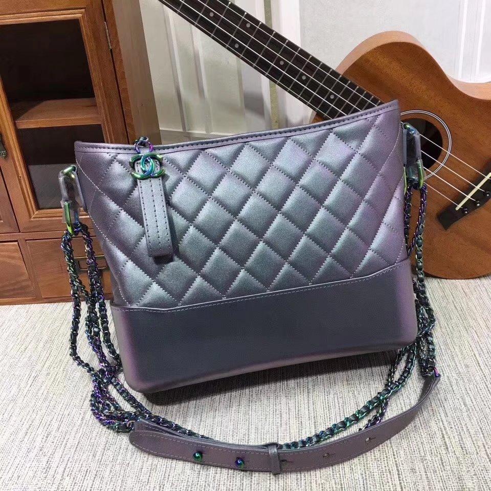 Chanel 28cm Gabrielle Hobo Bag Calfskin Iridescent Lambskin Iridescent Metal Purple