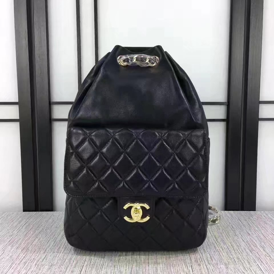 Chanel 7013 Backpack Balck Leather Gold
