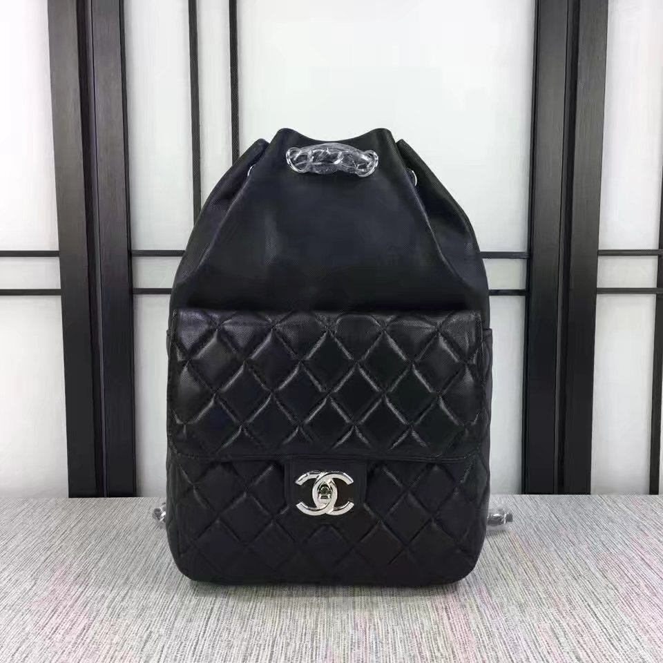 Chanel 7013 Backpack Balck Leather Silver