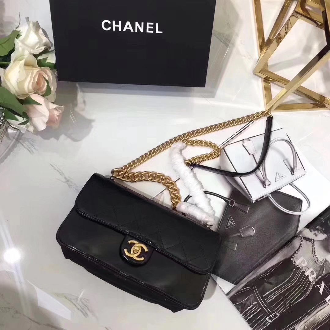 Chanel A91864 Small Straight-Lined Black Flap Bag