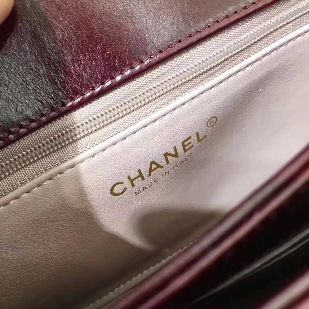 Chanel A91864 Small Straight-Lined Red Flap Bag