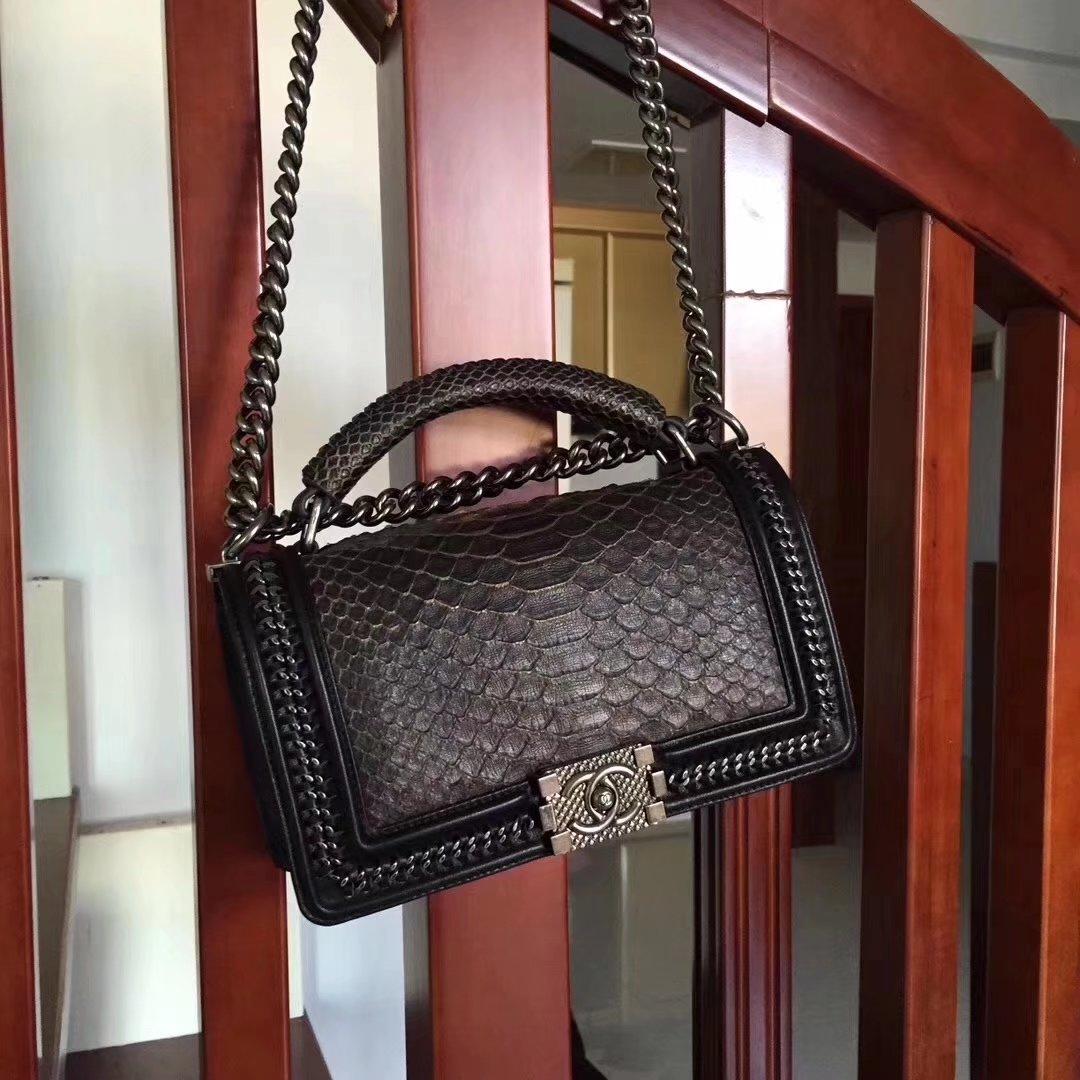 Chanel Black Python 25cm Boy Bag with Top Handle Bronze Hardware