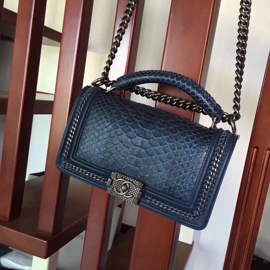 Chanel Blue Python 25cm Boy Bag with Top Handle Bronze Hardware