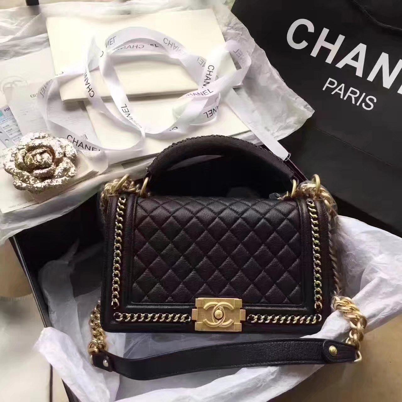 Chanel Boy Chanel Black Handbag With Handle