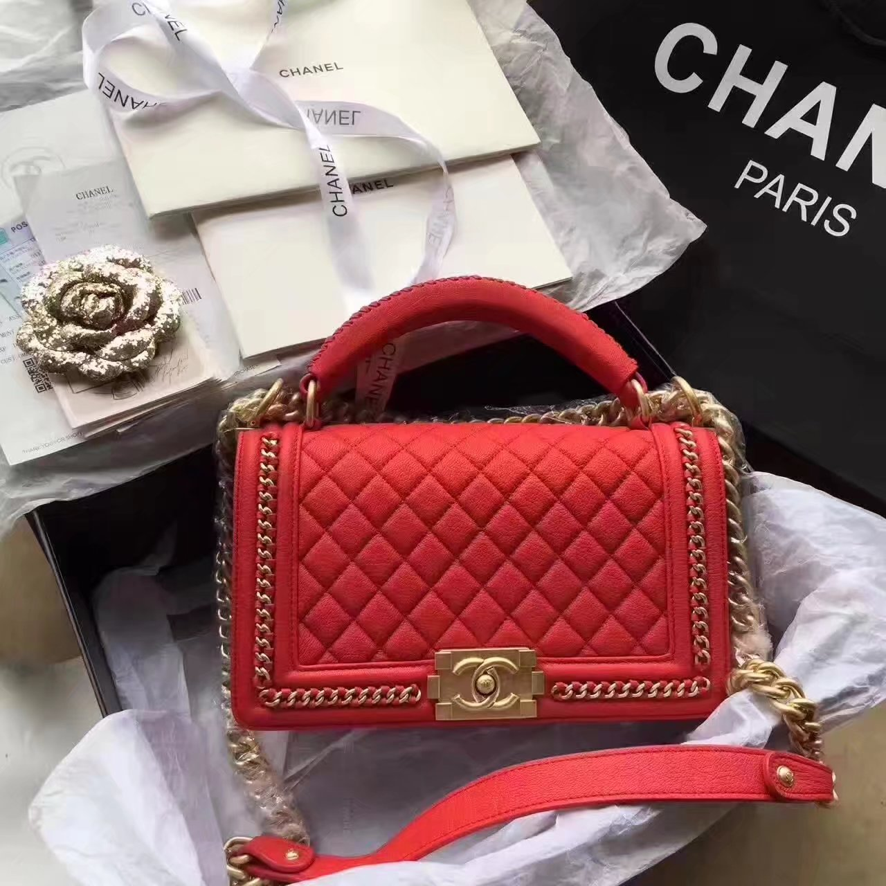 Chanel Red Caviar Leather Ellia Wallet On Chain Bluefly