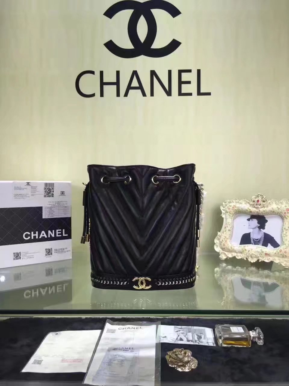Chanel Drawstring Black Bag Lambskin With Gold