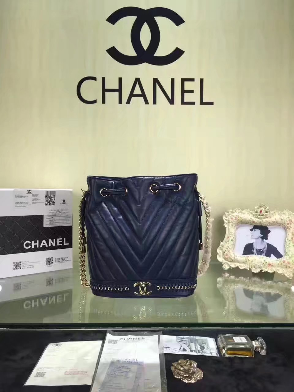Chanel Drawstring Dark Blue Bag Lambskin With Gold
