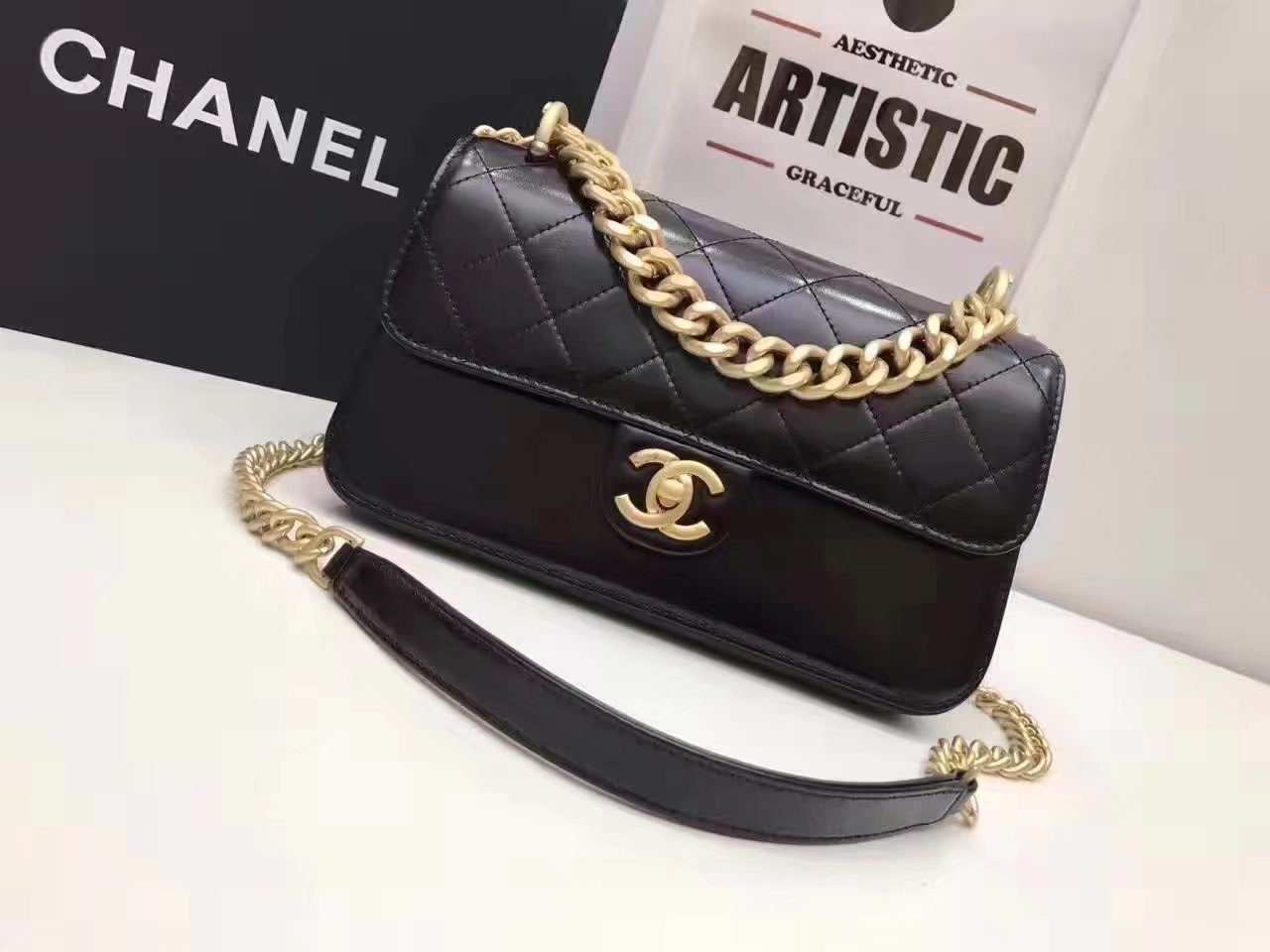 Original Quality Chanel Flap Bag With Chain Tote Black Calfskin Gold Metal